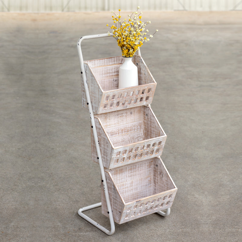Wood and Metal Three Bin Floor Stand Organizer Cart,plant stand,Adley & Company Inc.