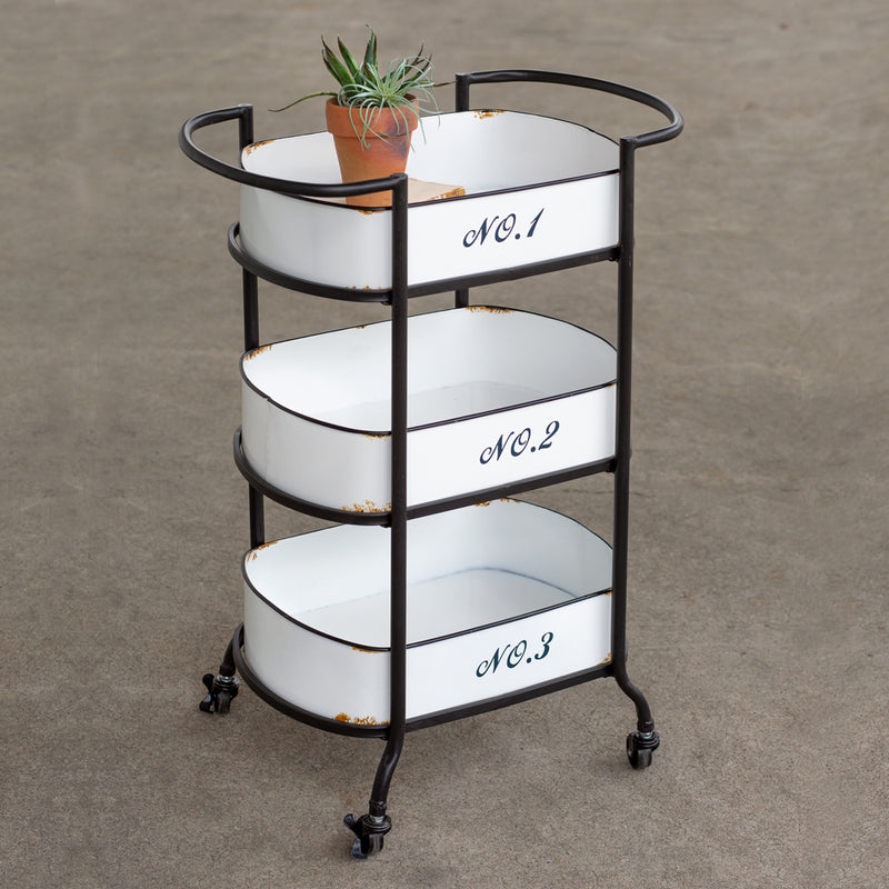 Three - Tiered Numbered Metal Rolling Cart
