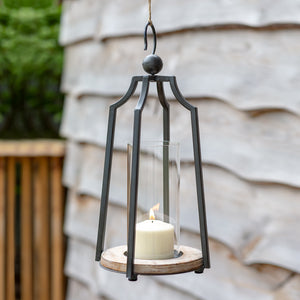 Hanging Metal and Glass Candle Lantern