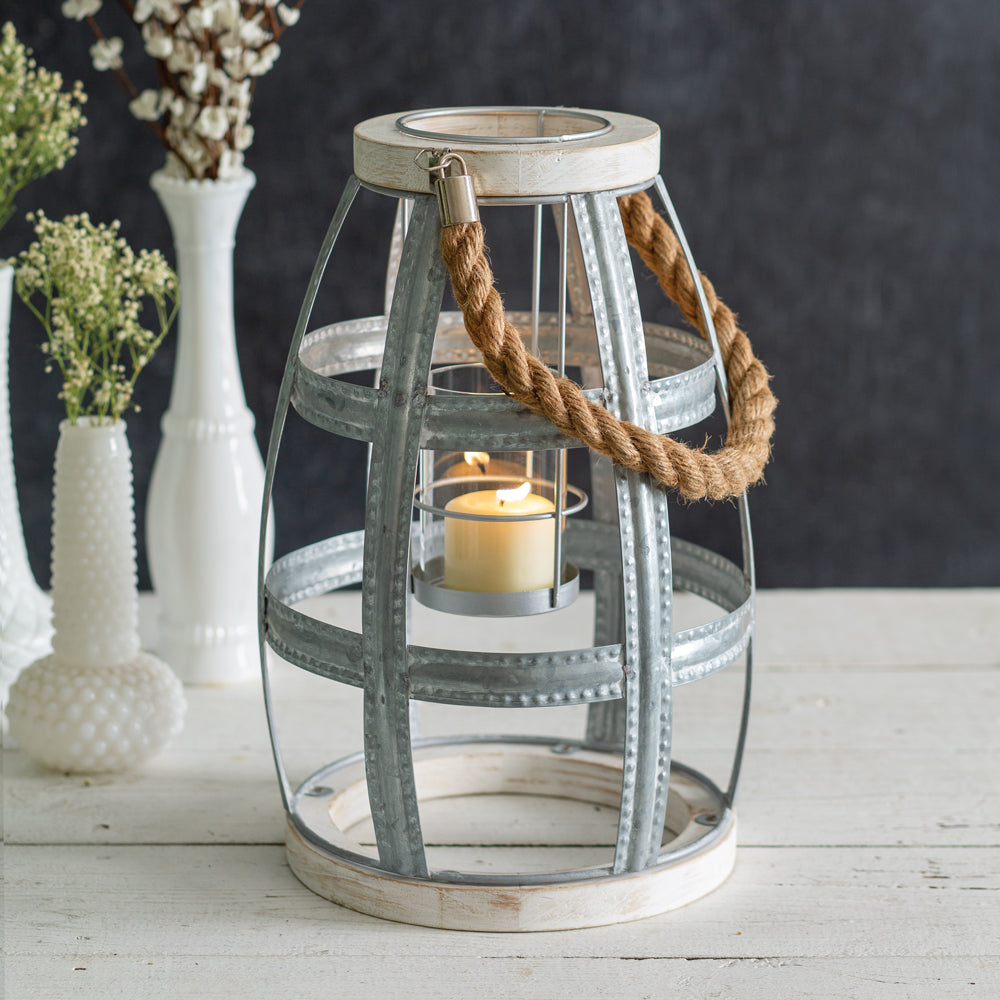 Wood and Metal Seaside Candle Lantern