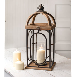 Barclay Metal and Wood Candle Lantern,lantern,Adley & Company Inc.