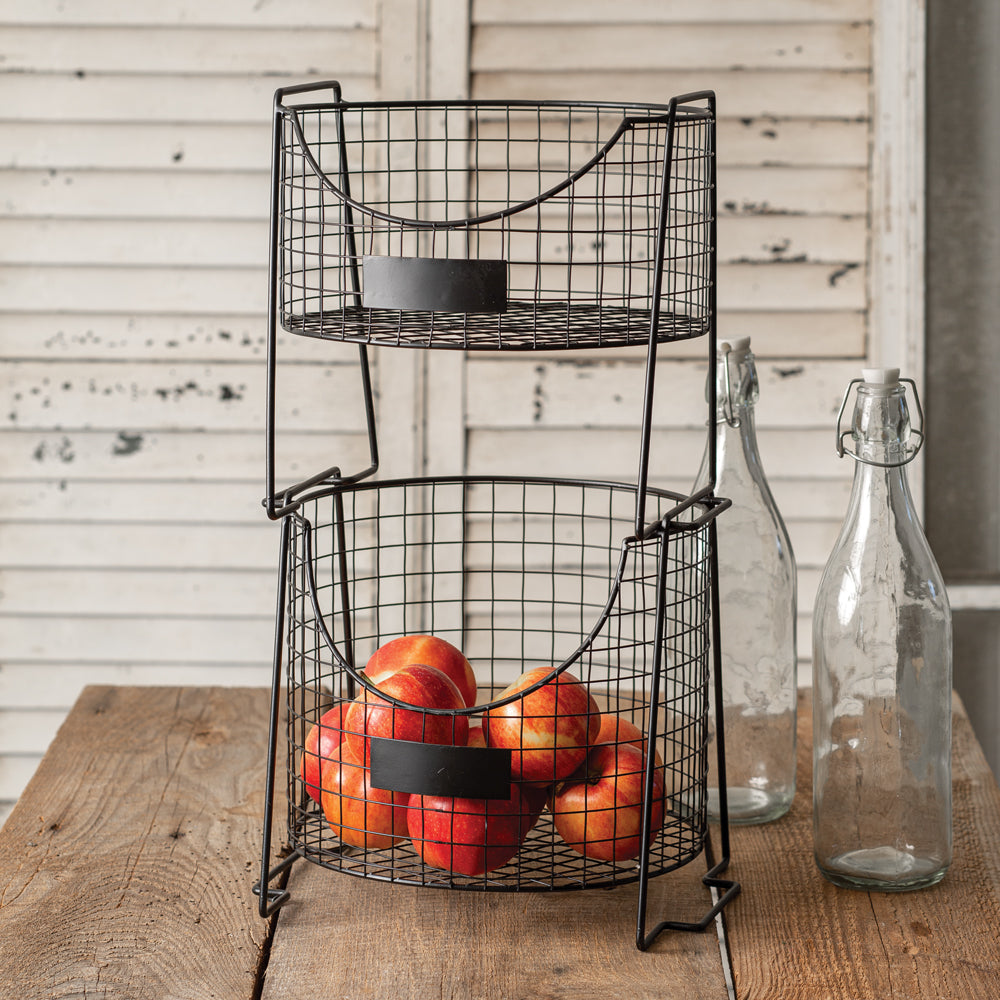 Two Tiered Wired Basket Caddy