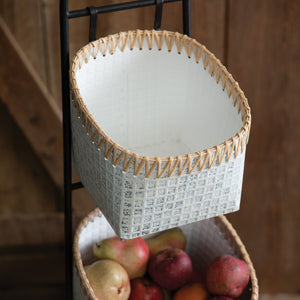 Plantation Metal and Raffia Basket Display Stand