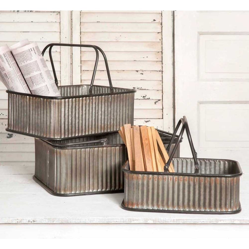 Rustic Set Metal Bins with Handles,storage bin,Adley & Company Inc.