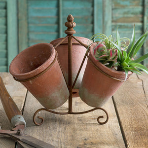 Triple Terra Cotta Planters in Caddy,planter,Adley & Company Inc.