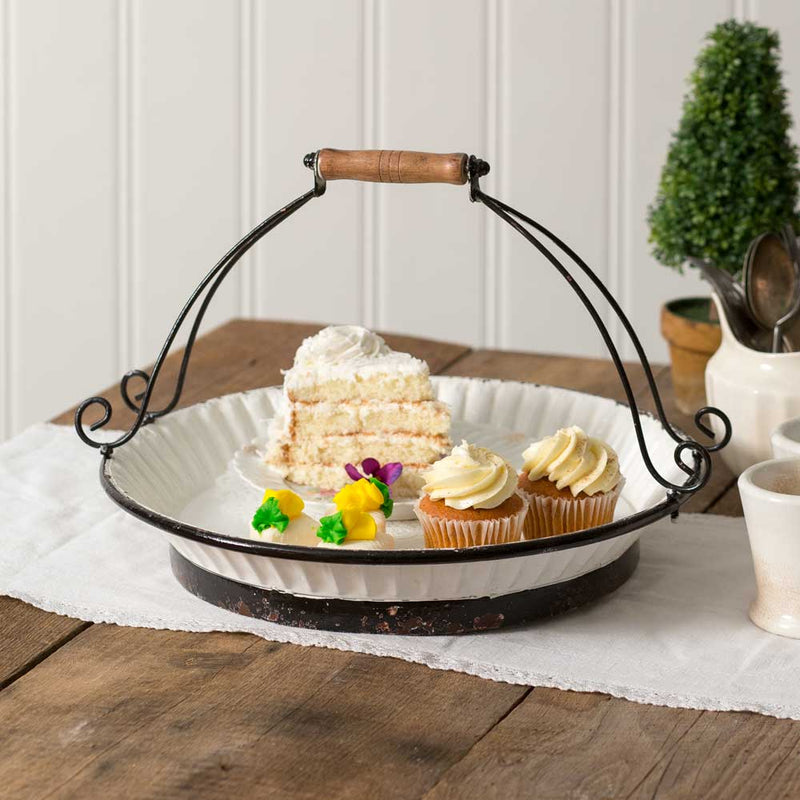 White Enamelware Cake Carrier with Handle