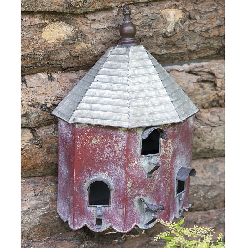Red Metal Beach Hut Birdhouse,birdhouse,Adley & Company Inc.
