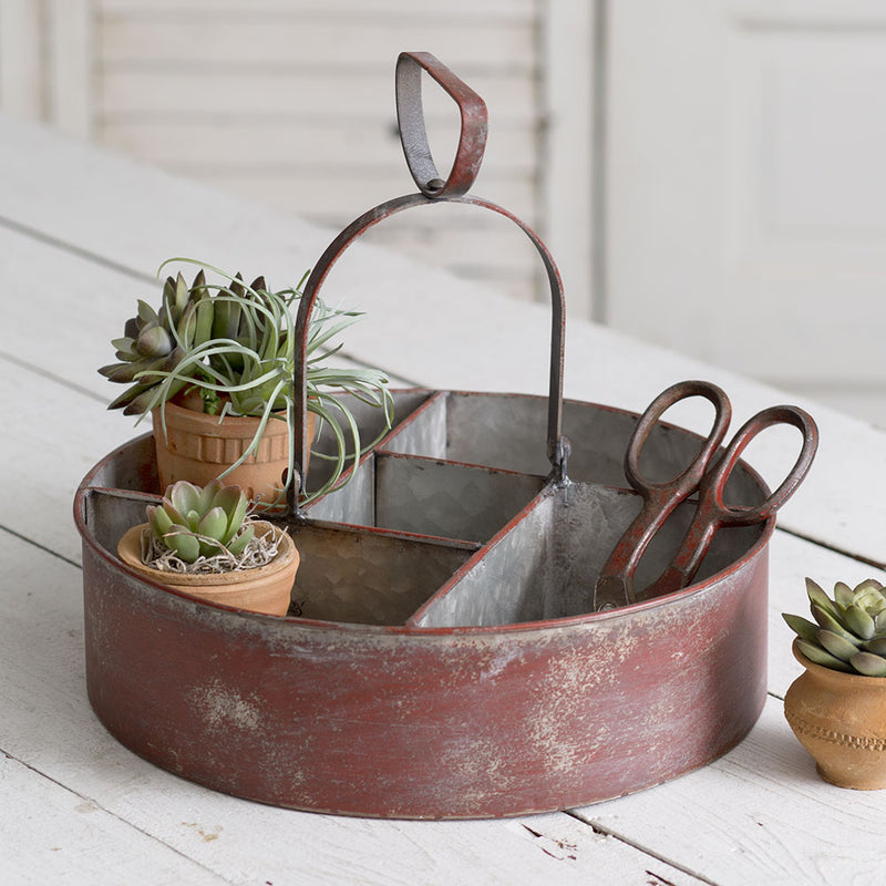 Rustic Metal Caddy with Handle,caddy,Adley & Company Inc.