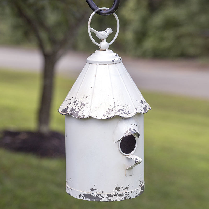 White Metal Beach Hut Birdhouse,birdhouse,Adley & Company Inc.