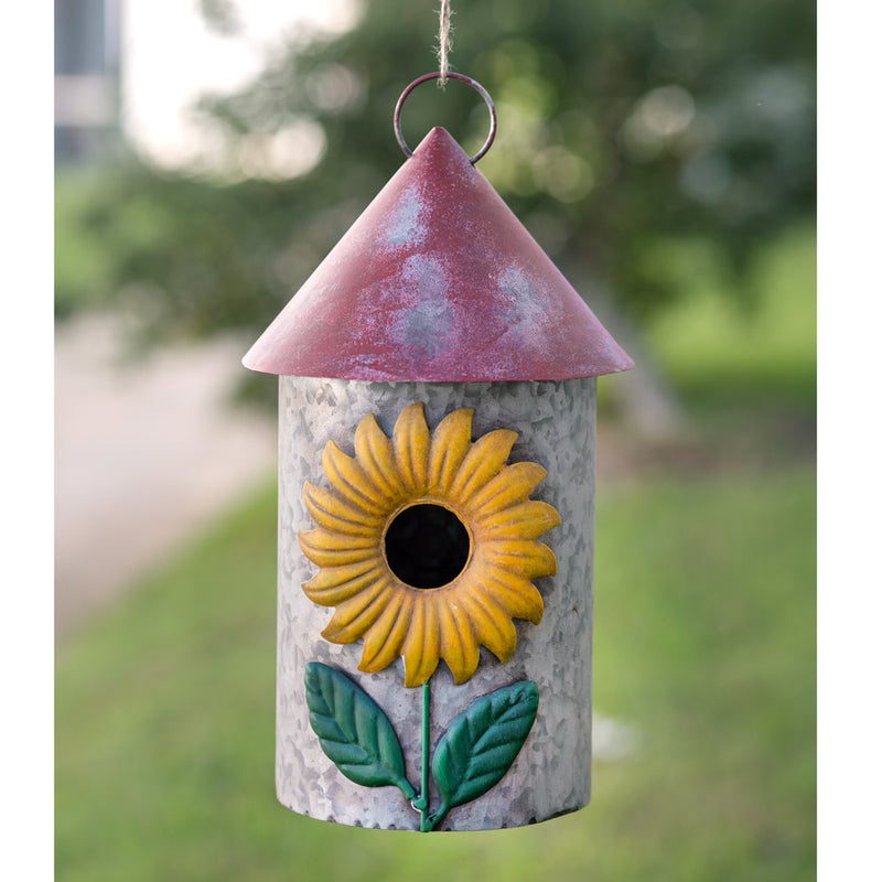 Sunflower Metal Bird House,bird house,Adley & Company Inc.