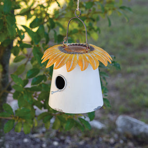 Sunflower Roof Metal Bird House,bird house,Adley & Company Inc.