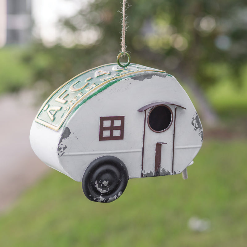 Metal Camper License Plate Bird House,bird house,Adley & Company Inc.