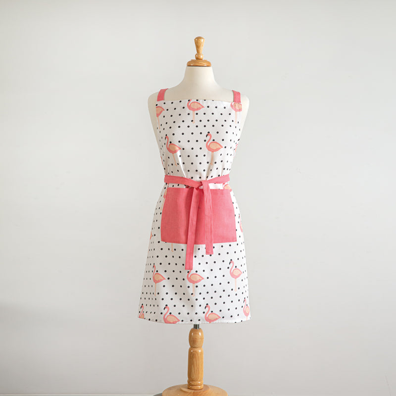 Pink Flamingo and Polka Dot Cotton Full Apron,apron,Adley & Company Inc.