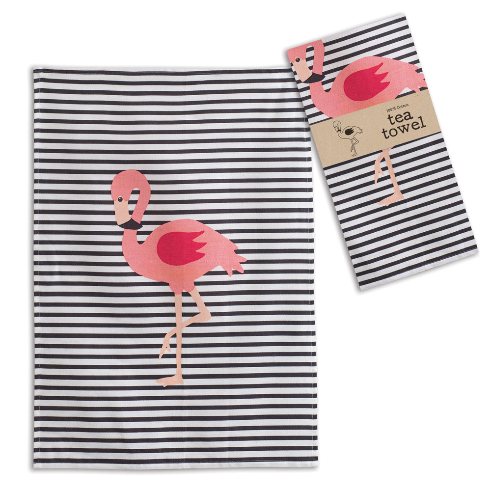 Flamingo Striped Tea Towels, Set of 4,dish towel,Adley & Company Inc.