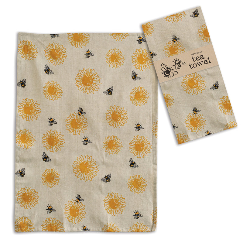 Sunflower with Bees Cotton Tea Towels, Set of 4,dish towel,Adley & Company Inc.
