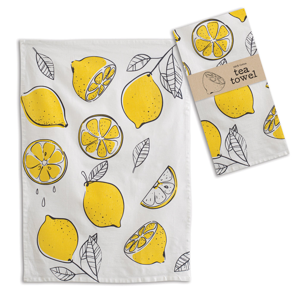 Yellow Lemons Cotton Tea Towels, Set of 4,dish towel,Adley & Company Inc.