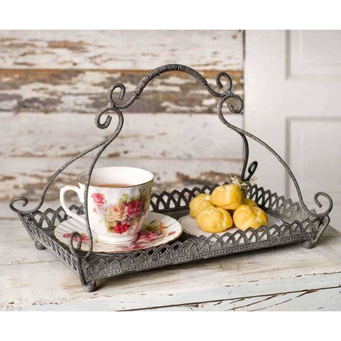 Shabby Chic Metal Tray with Handle