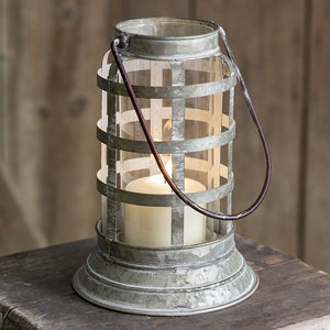 Metal Distressed Harbor Candle Lantern,lantern,Adley & Company Inc.
