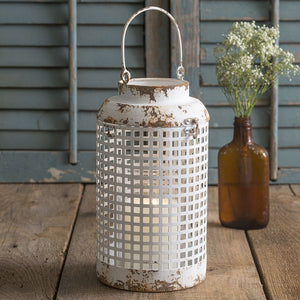 Openwork Metal Distressed Candle Lantern