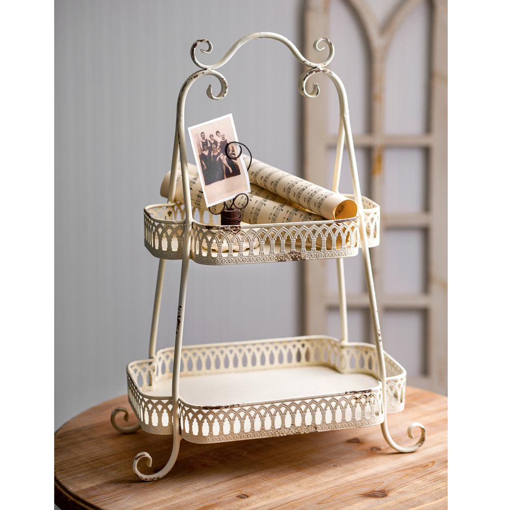 Two - Tiered Chantilly Display Tray,tray,Adley & Company Inc.