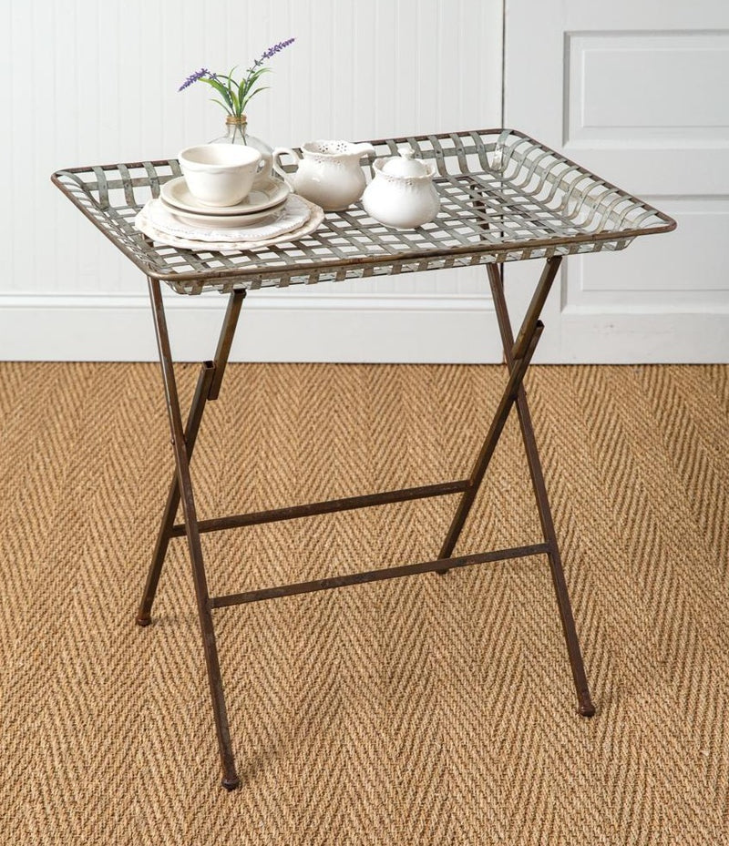 Edison Style Metal Woven Folding Tray Table,tray table,Adley & Company Inc.
