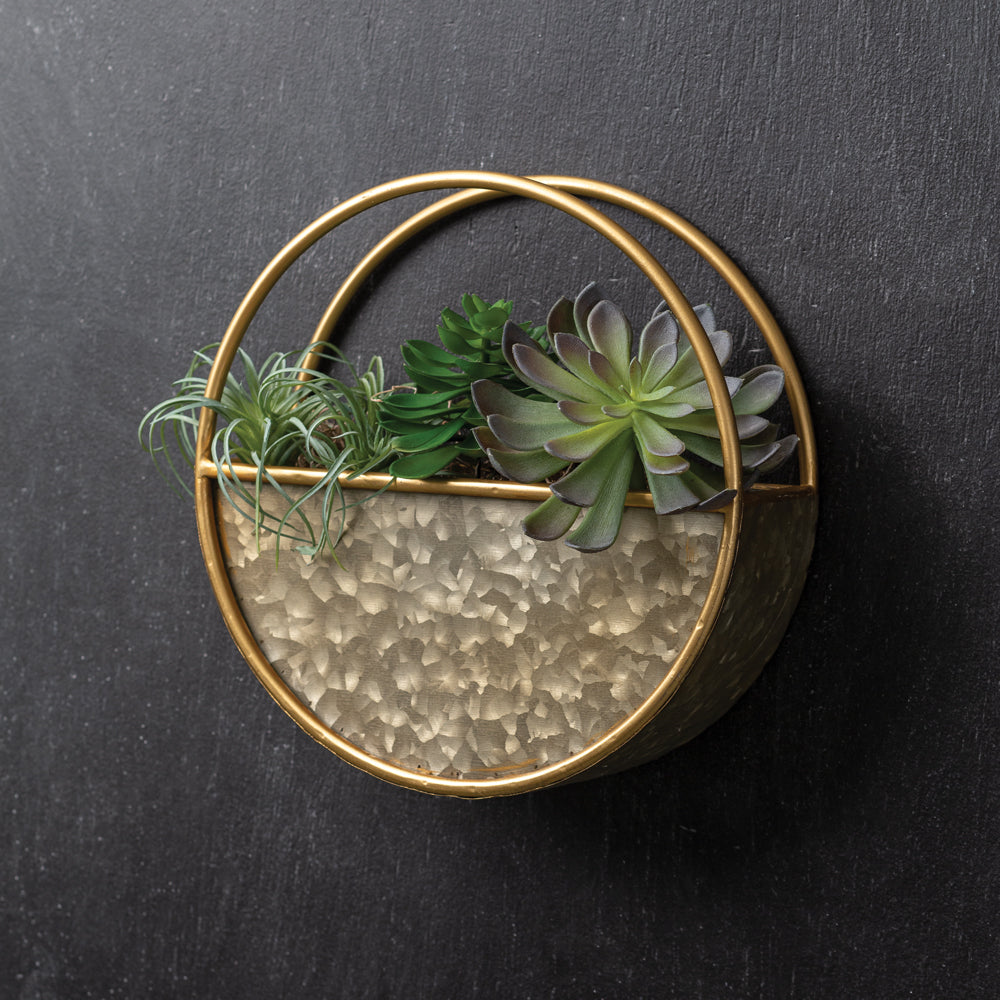 Gold Metal Wall Pocket Planter,planter,Adley & Company Inc.