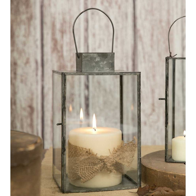 Glass and Metal Square Candle Lantern,lantern,Adley & Company Inc.