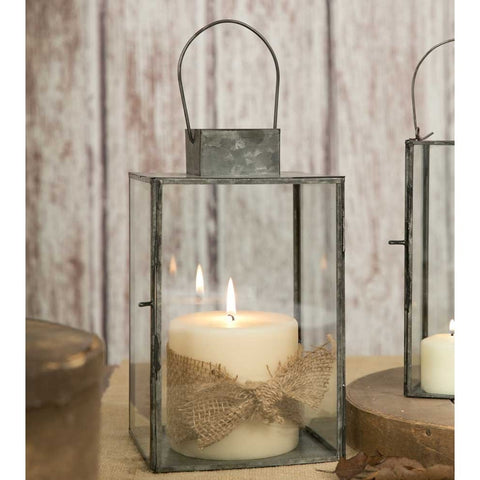 Glass and Metal Square Candle Lantern