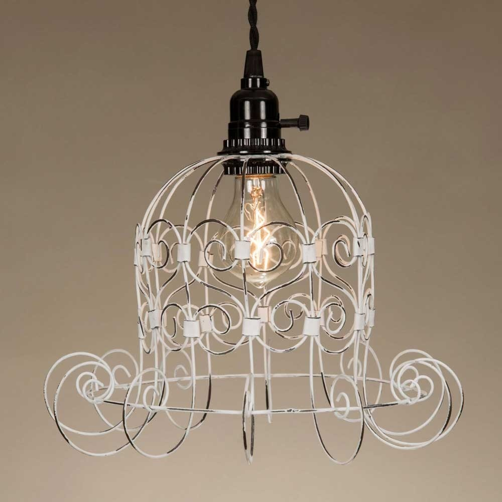 Shabby Chic White Wire Pendant Lamp,pendant light,Adley & Company Inc.