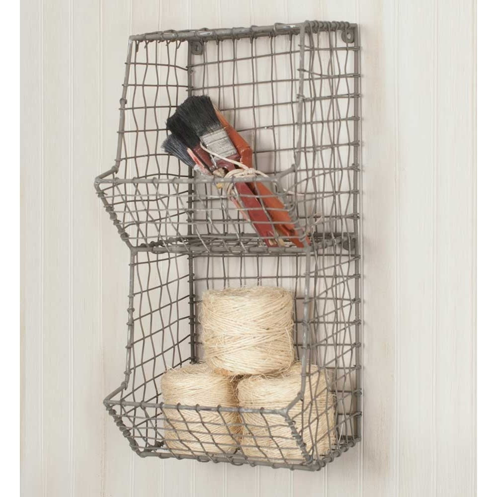 Small Vertical Wire Basket Wall Storage,storage bin,Adley & Company Inc.