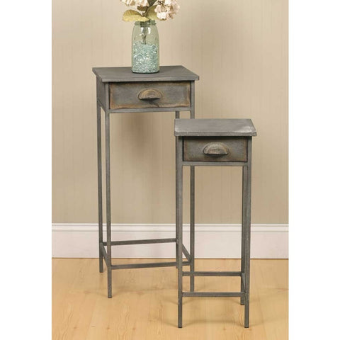Set of 2 Metal Side Tables, Night Stand Tables