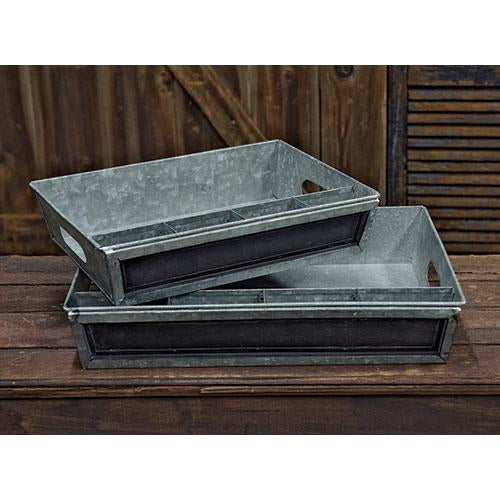 Set of 2 Metal Chalk Board Sectioned Trays