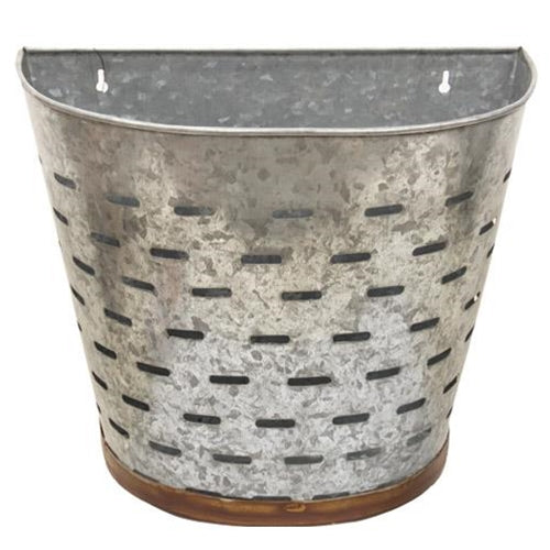 Half Metal Olive Bucket, Wall Decor and Storage