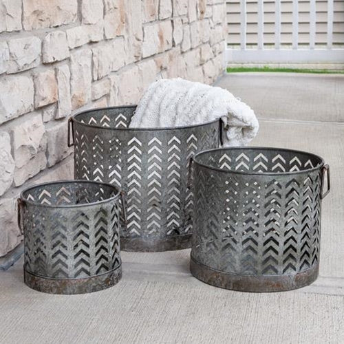 Set of Three Open Chevron Patterned Metal Baskets,basket,Adley & Company Inc.