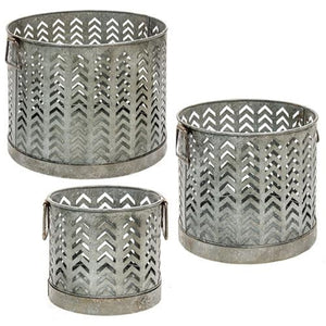 Set of Three Open Chevron Patterned Metal Baskets - Adley & Company Inc.