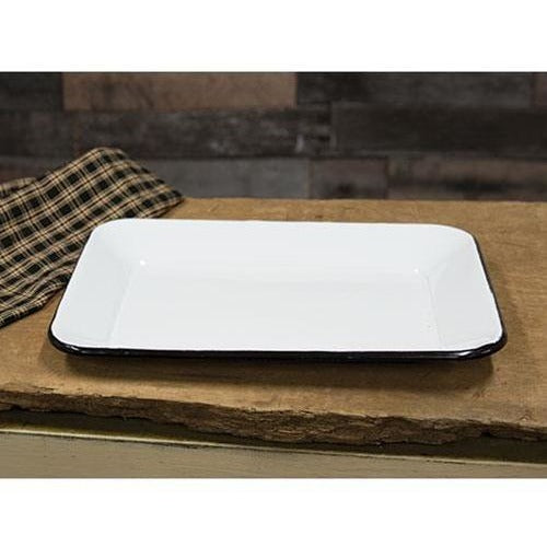 White Enamelware Serving Tray,tray,Adley & Company Inc.