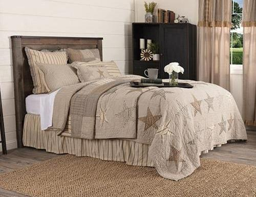 Grey & Tan Star Quilted Bedspread Set,bedspread,Adley & Company Inc.