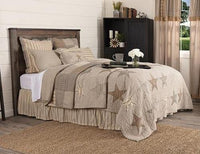 Grey & Tan Star Quilted Bedspread Set