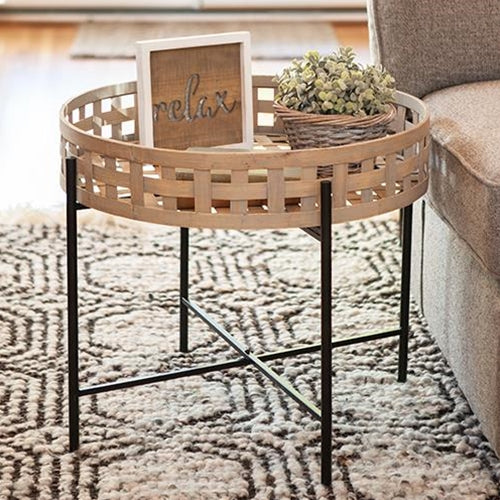 Round Woven Basket Side or Accent Table,side table,Adley & Company Inc.