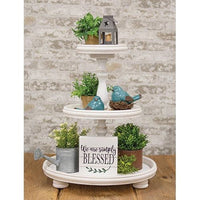 Island Beach White Wooden Display Tray