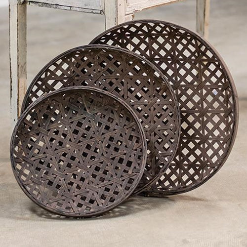 Set of 3 Woven Round Tobacco Baskets,basket,Adley & Company Inc.