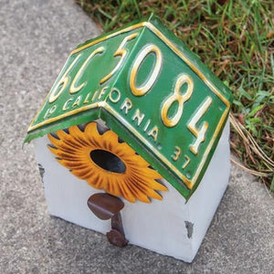 Vintage License Plate Metal Sunflower Birdhouse,birdhouse,Adley & Company Inc.