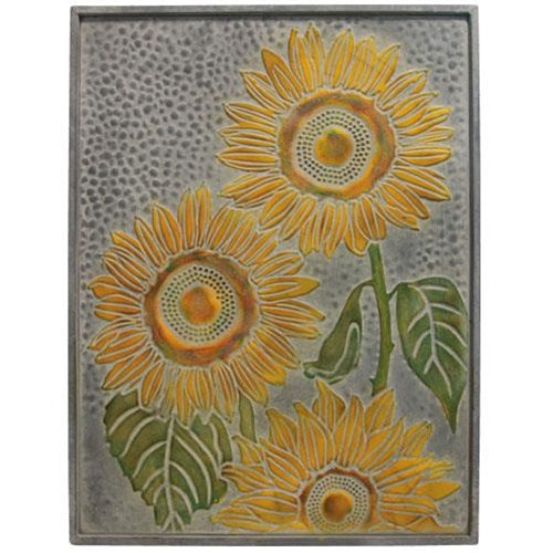 Hammered & Embossed Metal Sunflower Tin Sign