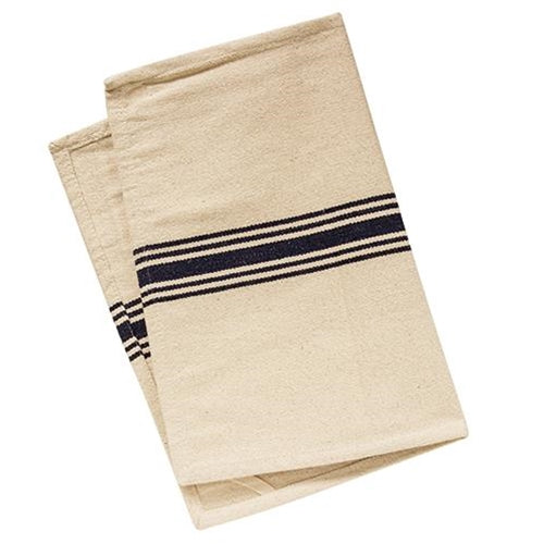 Grain Sack Cotton Table Runner with Navy Blue Stripes