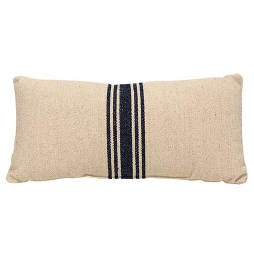 Grain Sack Navy Blue Stripe Decorative Cushion Pillow,accent pillow,Adley & Company Inc.