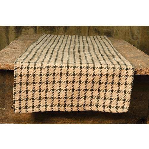 Black and Tan Check Table Runner,table runner,Adley & Company Inc.