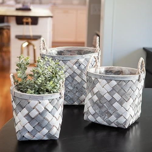Woven Wooden Baskets in Grey and White, Set of 3