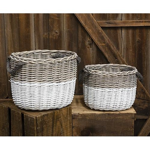 Set of 2 White Dipped Willow Woven Baskets