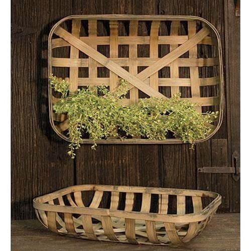 Set of 2 Large Rectangular Decorative Tobacco Baskets