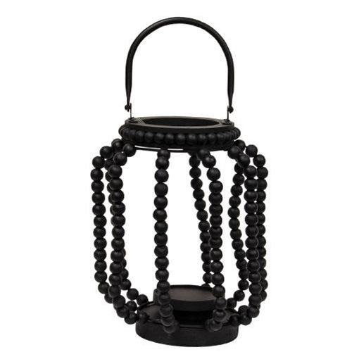 Wood Beaded Sorrento Candle Lanterns in Black